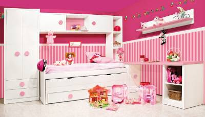 Habitacion Juvenil Lacada Blanca Combinada Con Tirador Rosa