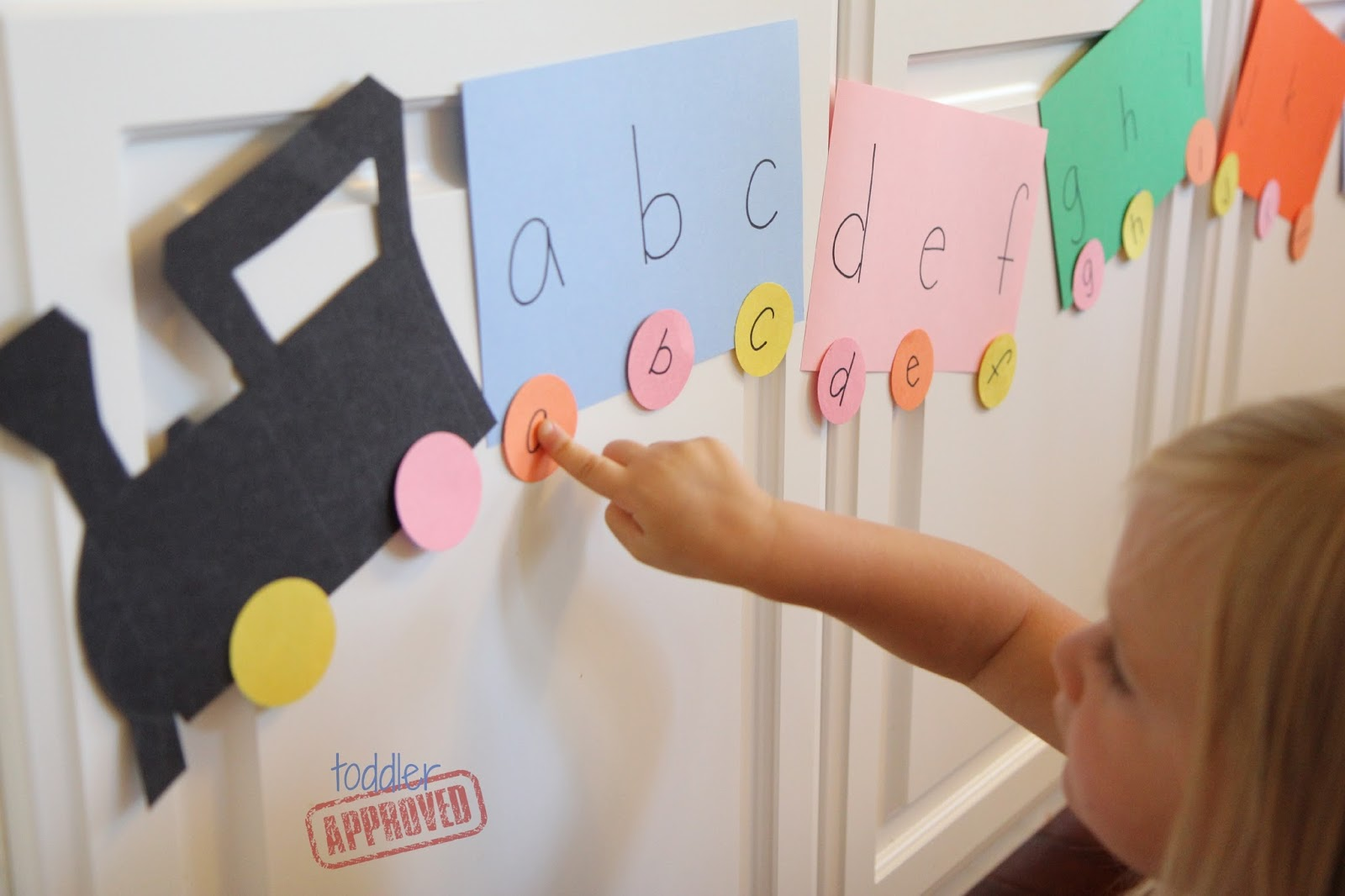 toddler approved alphabet train matching activity for kids