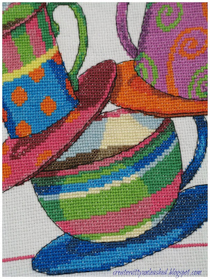 Cross stitch teacups