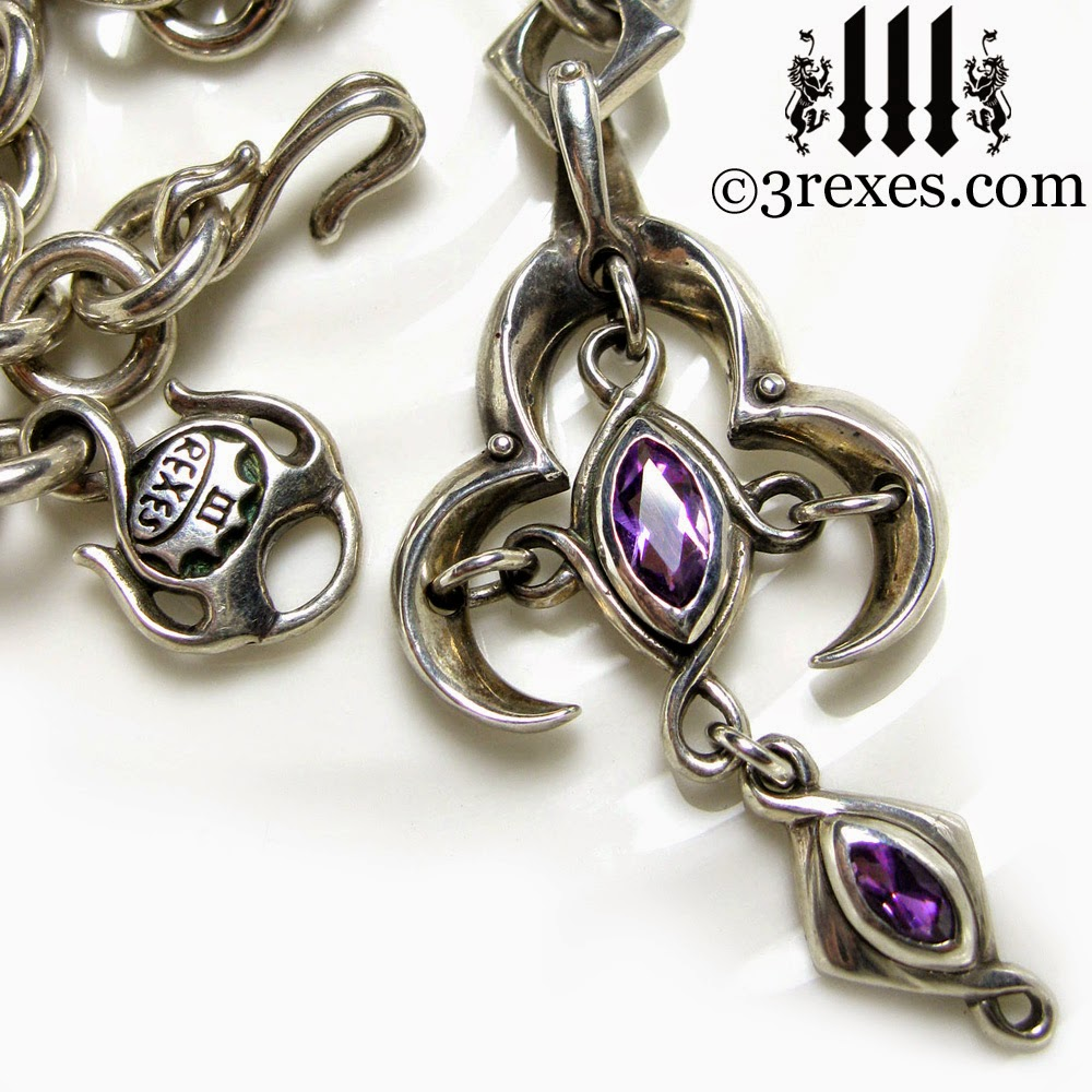 Moorish Marquise Heavy Silver Cross Necklace Gothic Amethyst