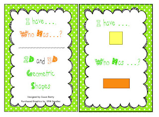 "Spring colored ""I Have, Who Has...?"" 2D and 3D Geometric Shapes"