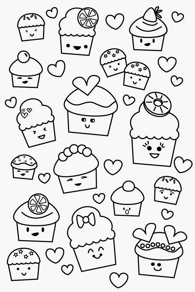 Free Kawaii With Faces Coloring Pages