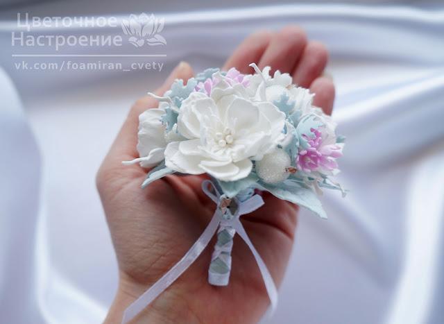 букет невесты с цветами из фоамирана