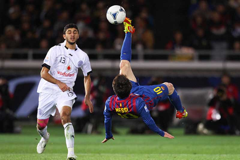 Soccer bicycle kick messi