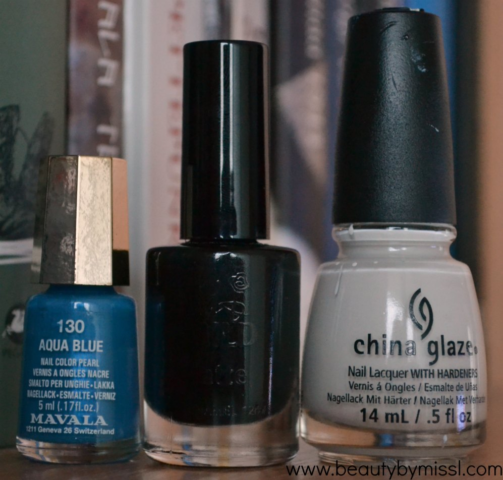 Mavala Aqua Blue, Wild & Mild City of Darks, China Glaze White on White