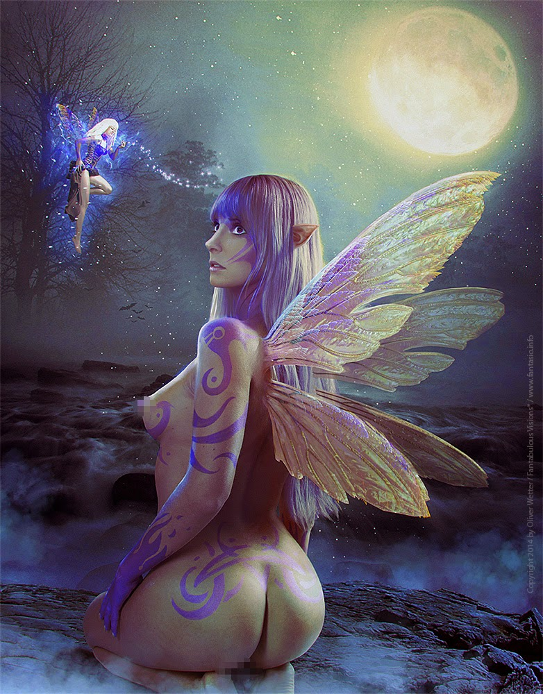 Fairy kneeling on a stone near a lake and talks with another, smaller fairy