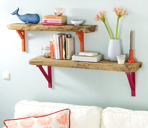 Find decorative wall brackets or paint wood brackets in fun colors ...