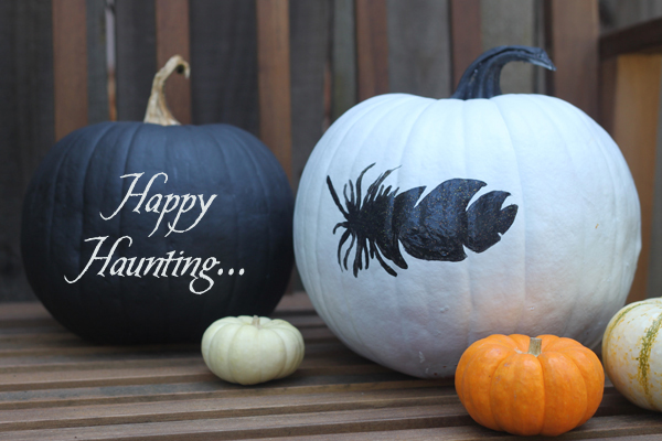 Cake creative co black white painted pumpkins for White pumpkin designs