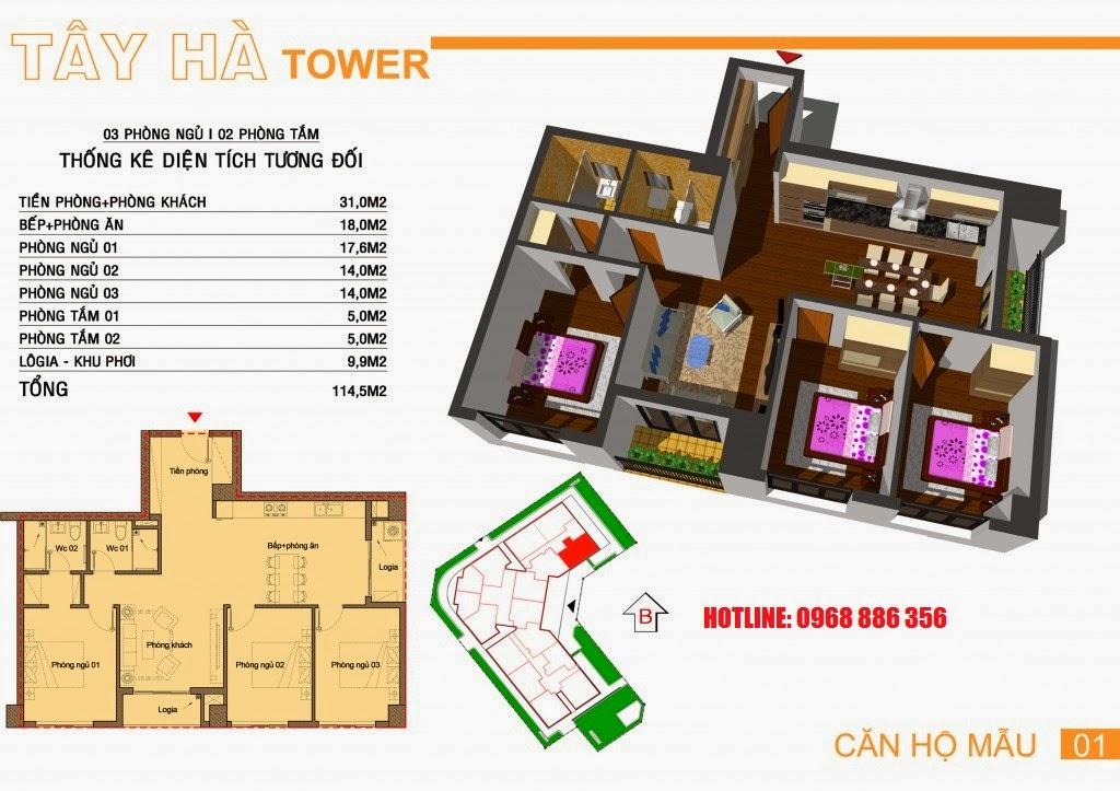 Căn hộ số 1 chung cư Tây Hà Tower