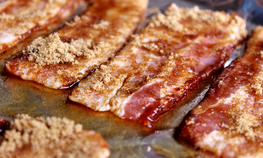 Maple glazed candied bacon.