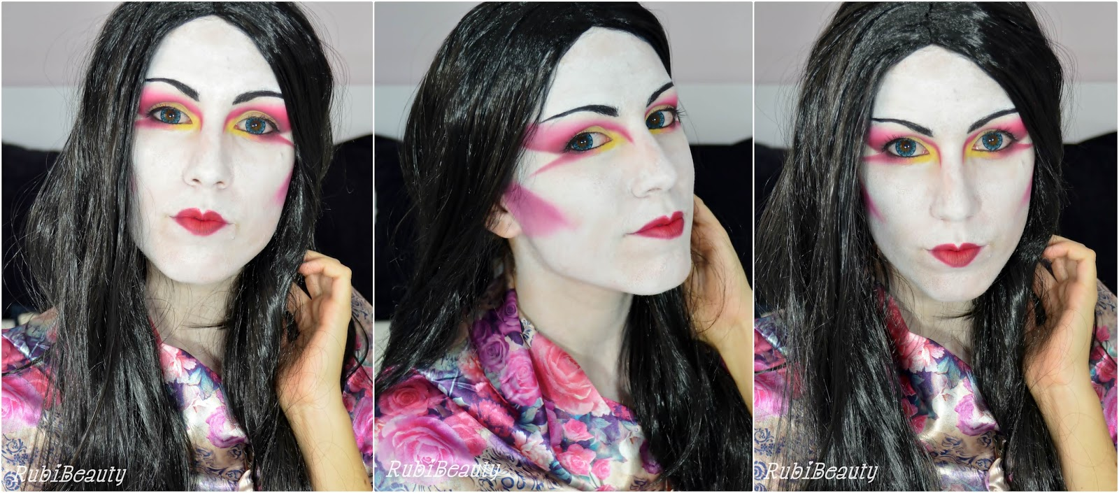 rubibeauty modern geisha facepaint makeup tutorial halloween 2014