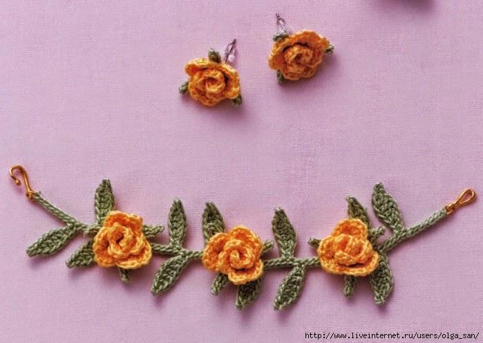 Patrón de brazalete y pendientes de rosas al crochet