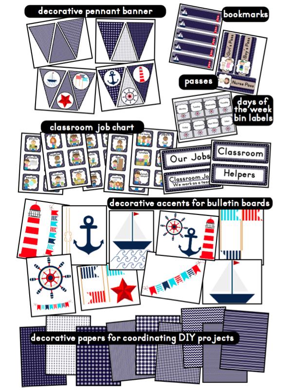 Classroom Decor Printables ~ Nautical sailing themed classroom ideas photos tips