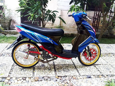modifikasi mio sporty warna biru  paling bagus