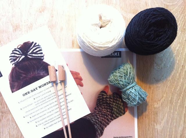 giveaway på merakibloggen; strikkekits og økologiske strikkepinde