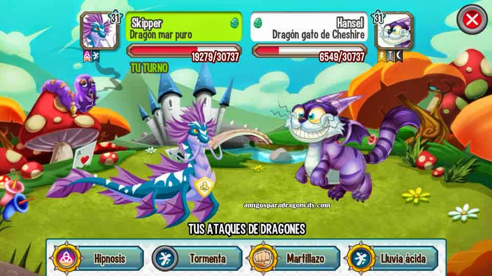 imagen de la batalla contra el dragon gato de cheshire de dragon city