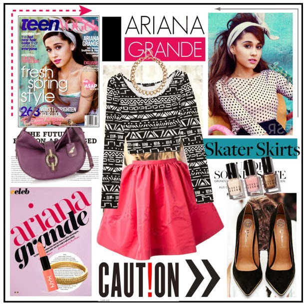Ariana Grande & the Red Valentino Flared Skirt