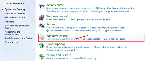 Windows Update pilih Turn automatic update on or off