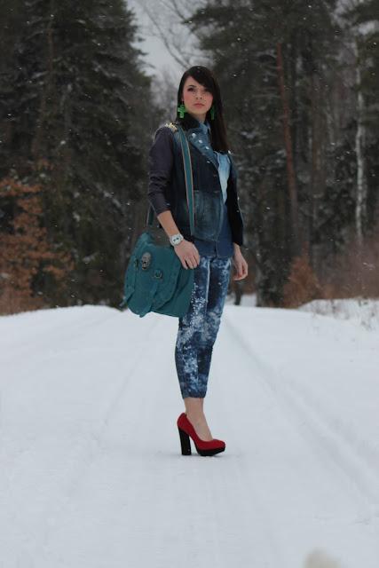 jeansowy look na pożegnanie zimy