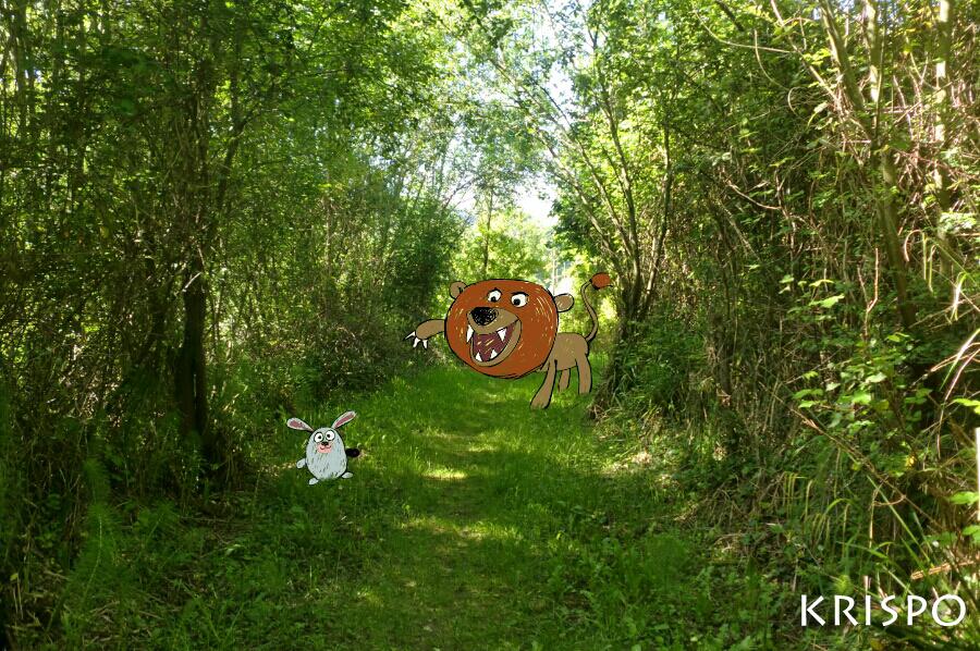 dibujo de leon y conejo en fotografia de bosque