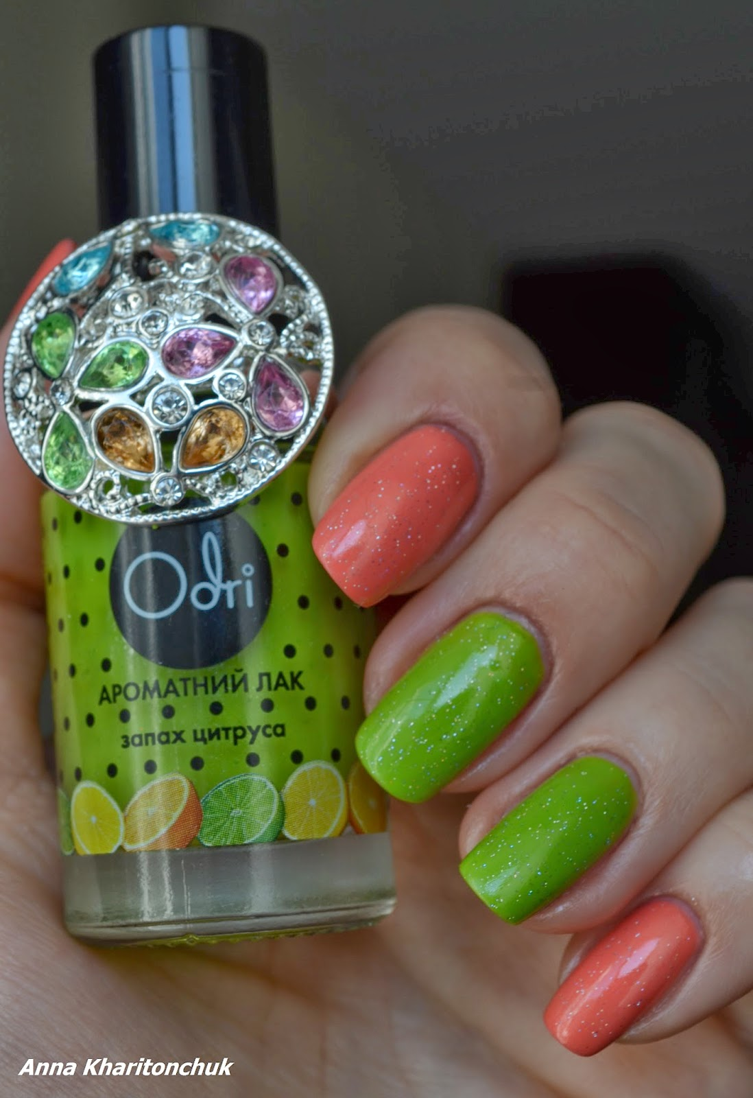 China Glaze Mimosa's Before Mani's, Odri # 313 и INM-Northern Lights Hologram Top Coat Silver