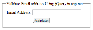 validating email address in asp.net using jQuery