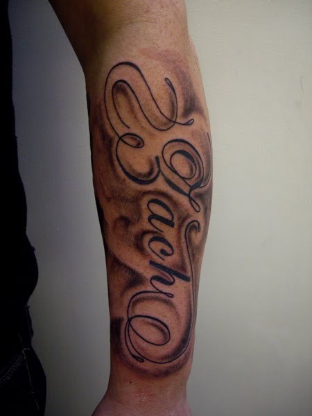 Large Names And Shading Forearm Tattoo