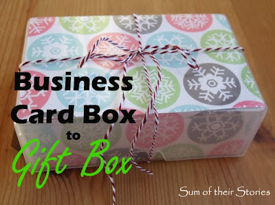 Recycle a business card box as a gift box