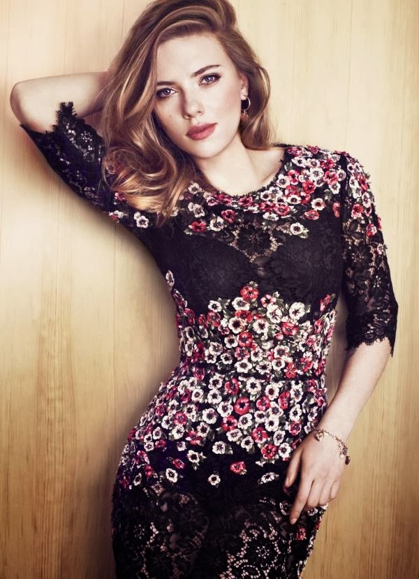 Amazing flower designed dress combined with beautiful Scarlett Johansson