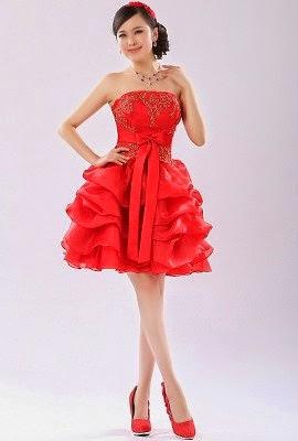 gaun pesta modern pendek merah