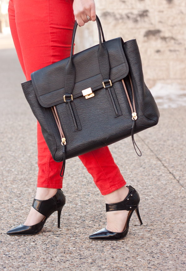 Casual Valentine's Day Outfit with Red Jeans and a 3.1 Phillip Lim Bag