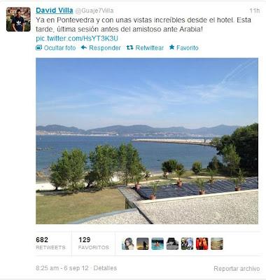 David Villa confundió Vigo con Pontevedra