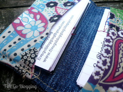 Homemade business cards in a homemade business cards holder