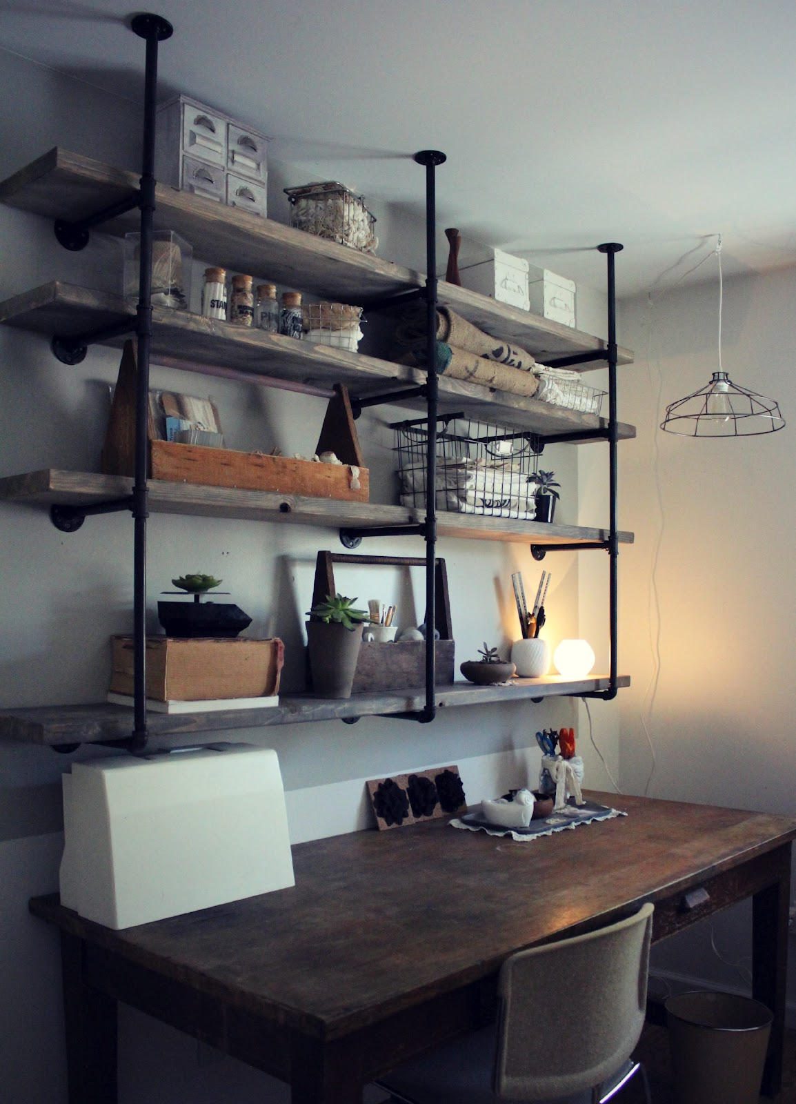 Sylvie liv industrial rustic shelf tutorial for Diy industrial bookshelf