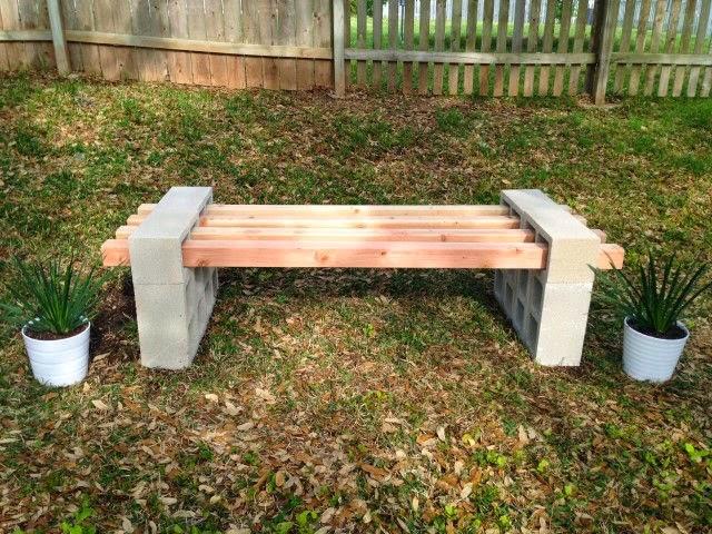 Como fazer banco de jardim com blocos de concreto
