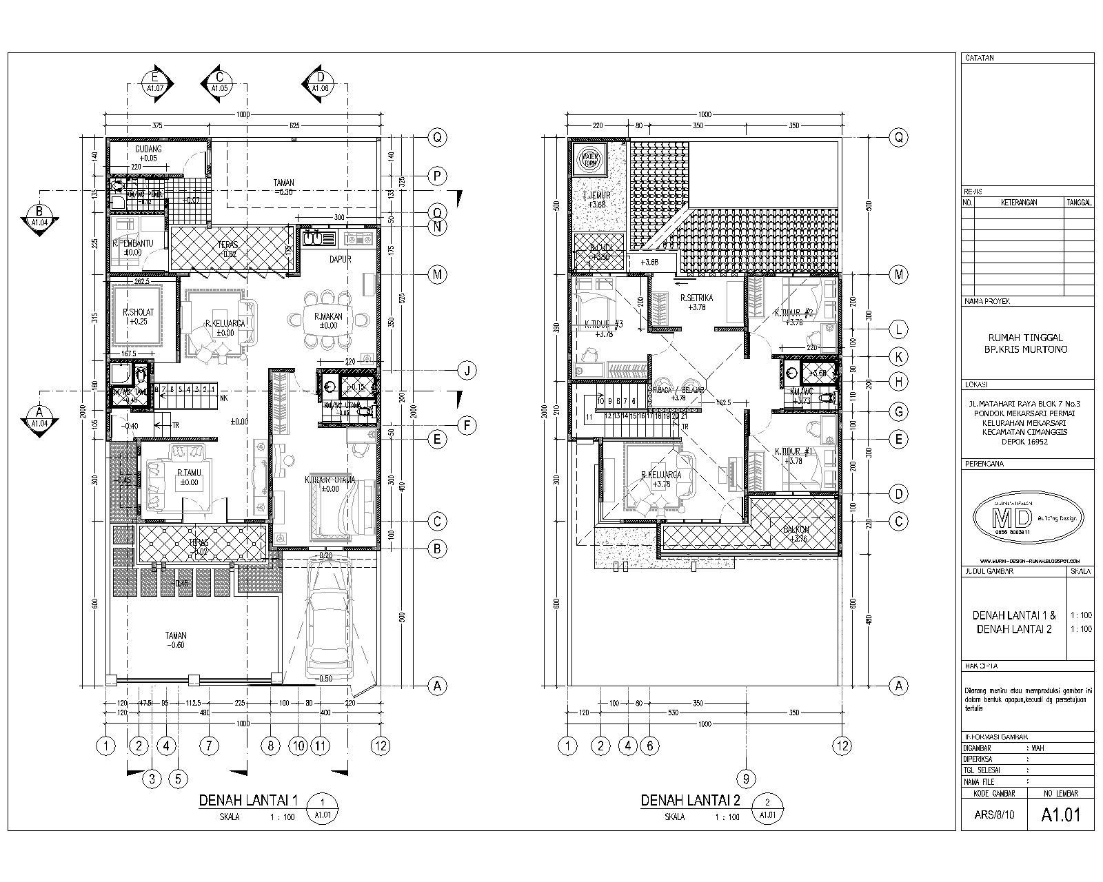 Denah Rumah Tingkat 2 Lantai Perumahan Model Minimalis