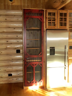 red, distressed, victorian, screen, pantry, door, huisman, lake cabin kitchen