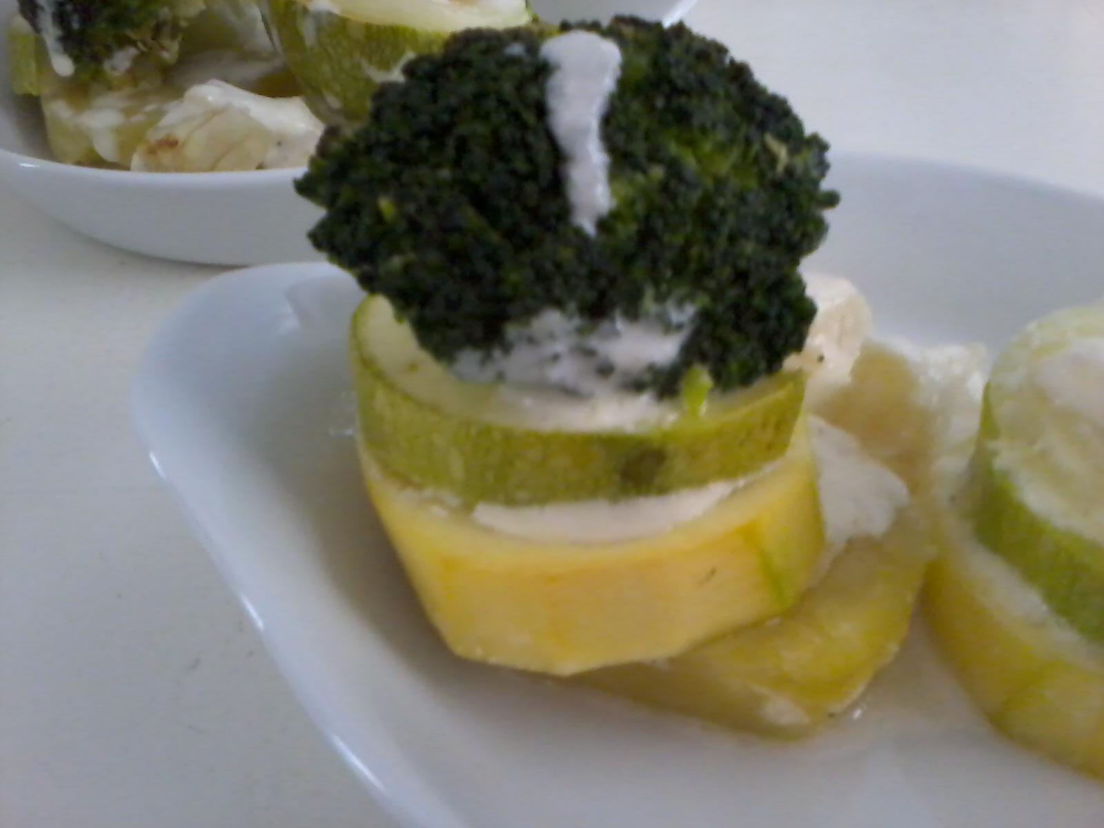 Tu y yo cocina torres de calabac n con verduras al horno - Salsa para verduras al horno ...