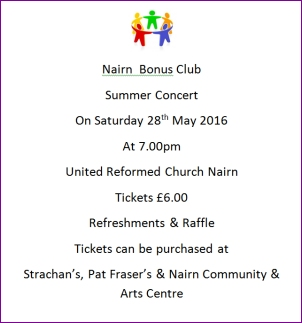Concert to raise funds for Bonus Club         Sat 28th