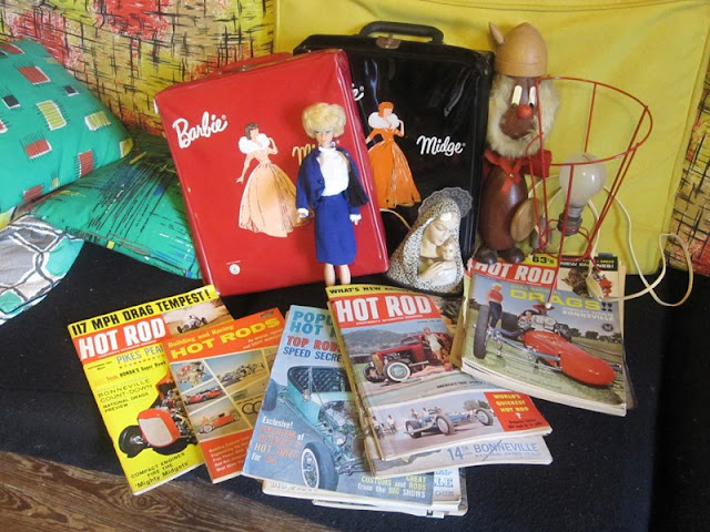 vintage Barbie case , Hot Rod mag , viking . magazine book 1950 50s 1960 60s 1970 70s the virgin mary doll
