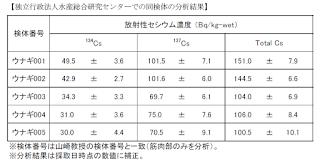 独立行政法人水産総合研究センターによる江戸川産のうなぎの調査結果