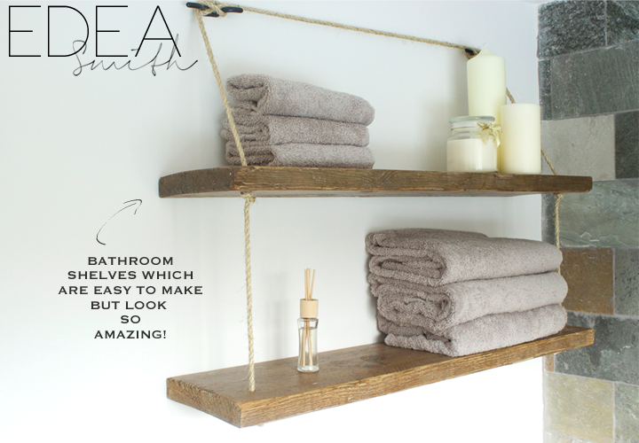 DIY Reclaimed Wood Bathroom Shelves