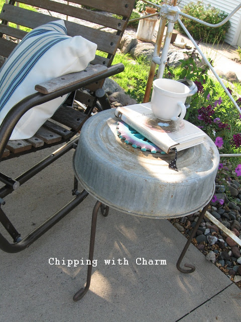 Quirky plant stand side table - Chipping with Charm featured on I Love That Junk