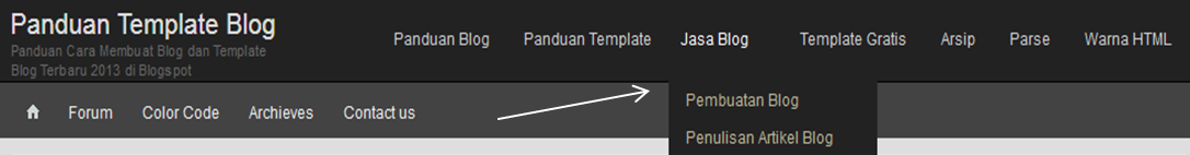 Cara Membuat Menu Horizontal Blog Drop Down