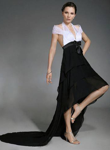 Christmas Lace Asymmetrical Dress ALine Taffeta Evening Dress
