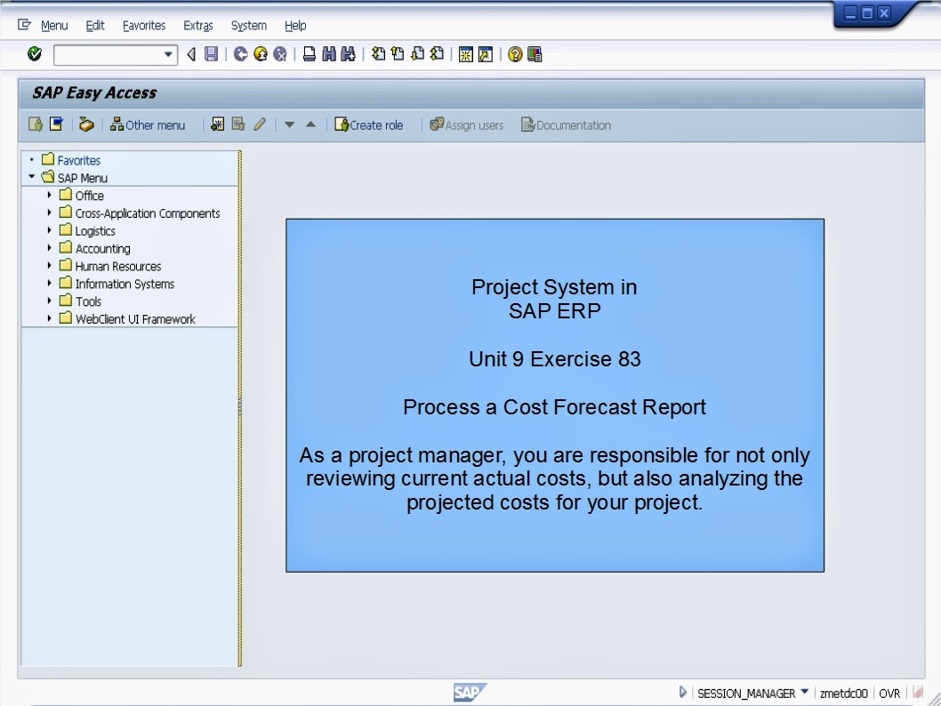sap learning examination sap project system sap project system process a cost forecast report