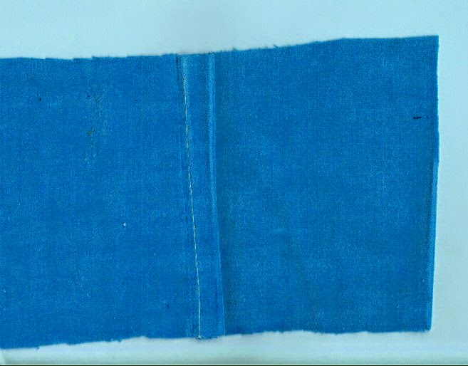 Image shows completed flat-felled seam made with straight stitch machine