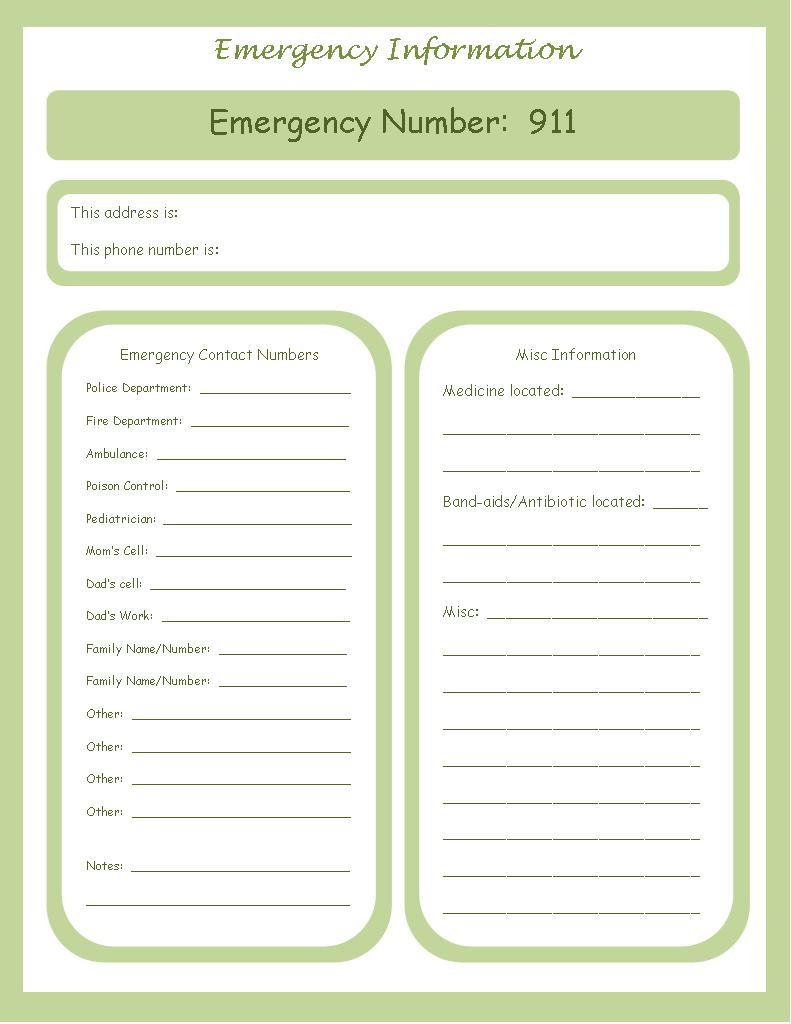 Emergency Contact Number Template  Contact Information Template