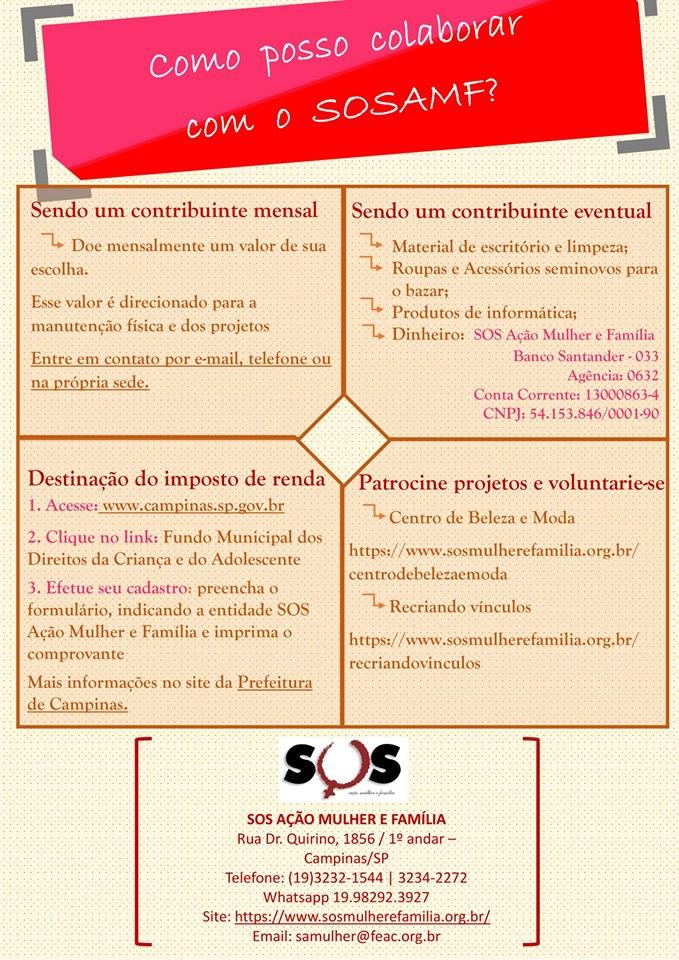 Colabore com a causa do SOS Ação Mulher e Família