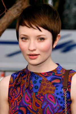Emily Browning short haircut with bangs